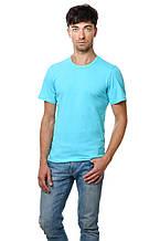 Однотонная хлопковая мужская футболка приталенная голубая