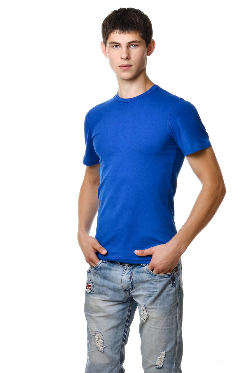 300e0c041b7d0 Однотонная хлопковая мужская футболка приталенная синий электрик - Модная  одежда, обувь и аксессуары интернет-