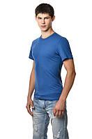 Однотонная хлопковая мужская футболка приталенная синяя джинс