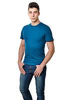 Хлопковая мужская однотонная футболка приглушенно синего цвета