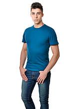 Бавовняна чоловіча однотонна футболка приглушено синього кольору