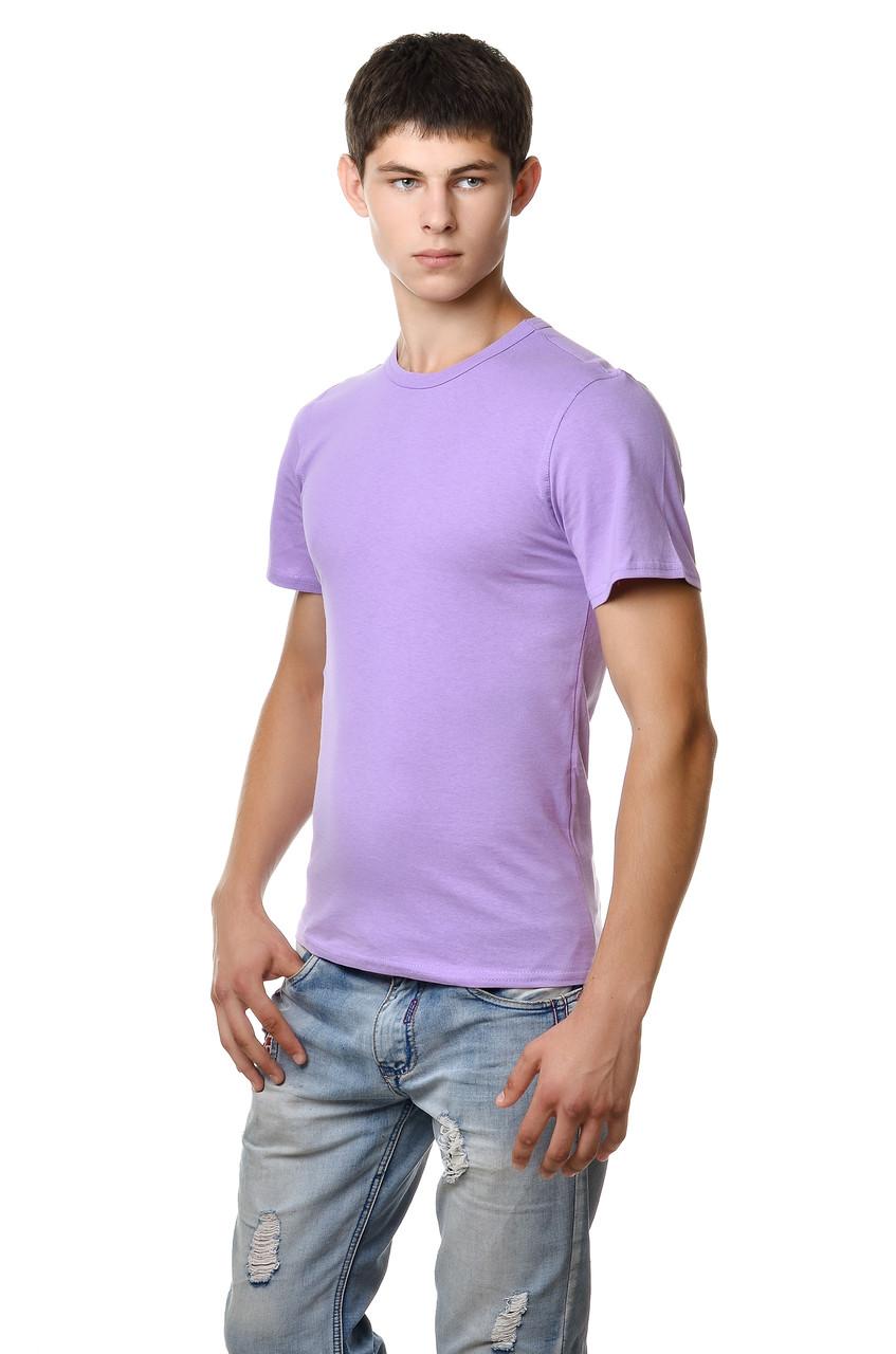 Хлопковая футболка мужская приталенная однотонная сиреневая