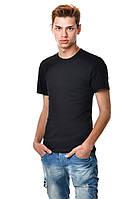 Черная футболка мужская приталенная однотонная хлопковая