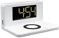 Беспроводное зарядное устройство часы Qitech Alarm Clock Wireless Charger 3в1 |цветбелый (QT-Clock1wh), фото 1
