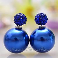 Серьги пуссеты, фактура перламутр, цвет синий, гвоздик синий декорированный кристаллами