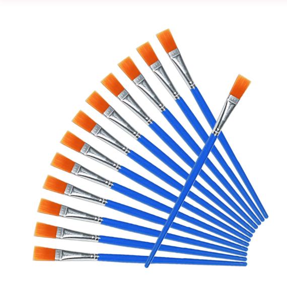 Кисть для рисования плоская синяя синтетика 7 мм, 16 см. Пензлик для малювання синтетичний
