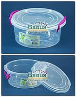 """Емкость (судок) пищевая 1,2л 18х17х7,5см пластиковая с крышкой """"Круглый №2"""" Ал-Пластик, фото 1"""