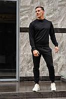 Спортивный костюм мужской весна-лето-осень (черный свитшот + черные штаны), фото 1