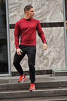 Спортивный костюм мужской весна-лето-осень (свитшот бордовый + черные штаны), фото 1