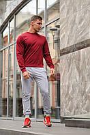 Спортивный костюм мужской весна-лето-осень (бордовый свитшот + серые штаны), фото 1