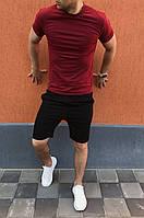 Чорні шорти і бордова футболка / Літні комплекти для чоловіків