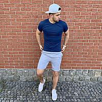 Темно-синяя футболка и серые шорты / Летние комплекты для мужчин