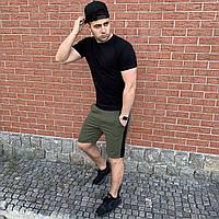 Черная футболка и шорты хаки с лампасами / Летние комплекты для мужчин