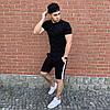 Черная футболка и черные шорты с лампасами / Летние комплекты для мужчин