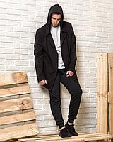 Черная мантия с капюшоном + черные спортивные штаны мужские (комплект)