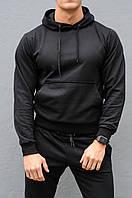 Черная мужская толстовка (худи с капюшоном, кофта, кенгурушка)