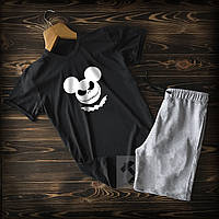 Спортивні Чоловічі сірі шорти і чорна футболка c Міккі / Літні комплекти для чоловіків