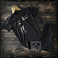 Спортивні Чоловічі чорні шорти і футболка Сімпсон c принтом The Godfather / Літні комплекти