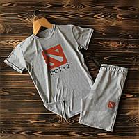 Спортивні Чоловічі сірі шорти і футболка Dota (Доту) / Літні комплекти для чоловіків
