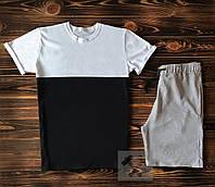 Мужская черно-белая футболка и мужские серые шорты / Летние комплекты для мужчин, фото 1