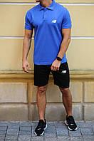 Чоловічий річний комплект шорти і футболка поло New Balance (Нью Баланс, Нью Бэланс, Нью Беланс)