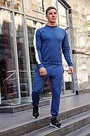 Синий мужской свитшот с лампасами / Свитшоты весна-осень, фото 1