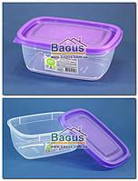 """Ємність (відро) харчова 0,6 л 15х11х6см пластикова з кришкою """"Прямокутний №1"""" Ал-Пластик, фото 1"""