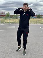 Черный мужской спортивный костюм Reebok (рибок) - черная худи и черные штаны  / Весна-осень, фото 1