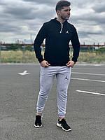 Мужской спортивный костюм Jordan (Джордан, Air Jordan) - черная худи и серые штаны  / Весна-осень, фото 1
