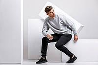 Зимний мужской спортивный костюм - серый теплый свитшот и черные теплые штаны / ОСЕНЬ-ЗИМА, фото 1