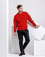 Зимний мужской спортивный костюм - красный теплый свитшот и черные теплые штаны / ОСЕНЬ-ЗИМА