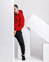 Зимний мужской спортивный костюм - красная теплая худи и черные теплые штаны / ОСЕНЬ-ЗИМА