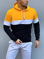 Теплая модная мужская толстовка желто-черная, худи с капюшоном, кофта, кенгурушка / ОСЕНЬ-ЗИМА