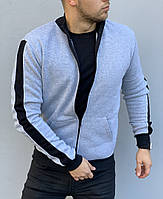 Теплый мужской свитер на молнии, с лампасами, кофта / ОСЕНЬ-ЗИМА