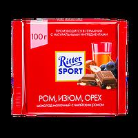 Шоколад Ritter Sport Молочный с ромом изюмом и орехами 100г. Германия