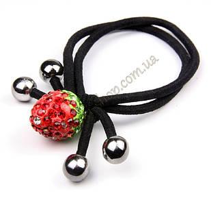 Гумка вузлик подвійна з червоною полуничкою, діаметр гумки: 6 см, довжина полуниці: 15 мм, 10 штук