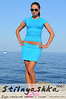 Костюм для тренировок юбка-шорты с футболкой голубой, фото 1