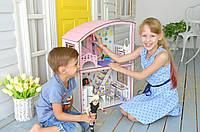 """Двухэтажный дом для барби с мебелью и текстилем """"Уютная вилла"""" (11 шт мебели)"""