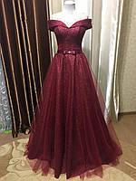 Вечернее выпускное блестящее платье на корсете цвета Марсала 2020 года