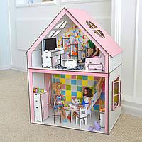 """Деревянный дом для барби с мебелью и текстилем """"Загородный дом"""" (13 шт мебели)"""
