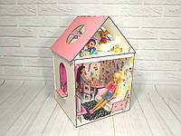 Домик для барби деревянный с мебелью и текстилем ( 10 шт мебели)