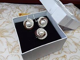 Набор Роза серебро 925 пробы с вставками золота 375 пробы с жемчюгом