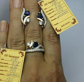 Комплект Ветка из серебра 925 пробы с золотыми вставками 375 пробы