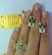 Комплект Шахматка из серебра 925 пробы с золотыми вставками 375 пробы , фото 2