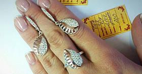 Комплект Иоланта из серебра 925 пробы с золотыми вставками 375 пробы