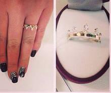 Серебряное кольцо Корона  925 с золотом  375 пробы родированное