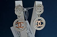 Серебряные серьги Шанель 925 с золотом 375 пробы