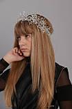 Вінок Корона біла кришталева Тіара прозора Діадема кришталева гілка ручна робота вінок сніжинка, фото 6