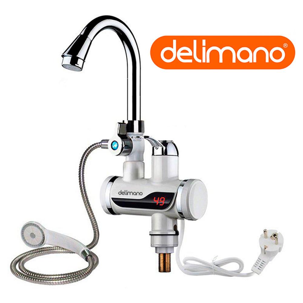 Водонагреватель проточный кран Делимано (Delimano) с душем нижнее подключение