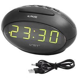 Часы сетевые VST 711-2 зеленые, USB